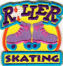 """""""ROLLER SKATING"""" IRON ON EMBROIDERED APPLIQUE PATCH - Skates, Sports, Words"""