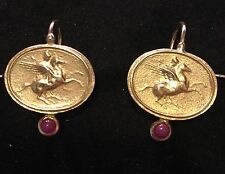 Tagliamonte Earrings,18kt Solid Gold ,Ruby, Etruscan ( Compare Elizabeth Locke)