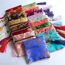 10 pcs SILK WALLET Zipper Coin Purse Pouch Bag Case Brocade Fabric