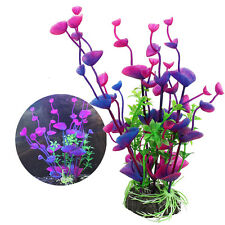Purple Blue Plastic Grass Artificial Water Plants for Fish Tank Aquarium Decor H