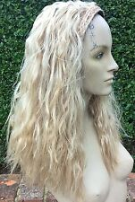 medium blonde wavy curly frizzy puffy 3/4 half head long hair wig fancy dress