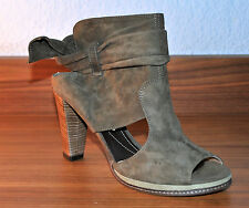 VIC MATIE Peeptoes Stiefeletten High Heel Gr 39 Ankle Boots Grey Taupe Laser Cut