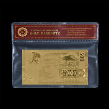 WR 2014 Greece / Greek Banknote 500 Drachmas  Gold Plated Note In COA Sleeve