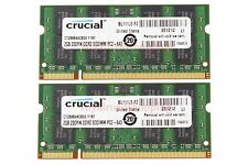 Crucial 4GB 2X 2GB 2Rx8 PC2-6400S DDR2 800Mhz 200pin SO-DIMM RAM Laptop Memory