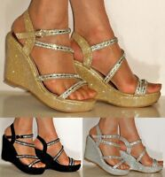 NEW DIAMANTE SILVER GOLD BLACK WEDGE MID HEEL PROM EVENING BRIDAL SANDALS SIZE