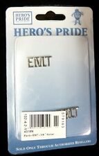 """EMT Collar Pin Set 3/8"""" Cut Out Letters Nickel Emergency Medical Technician 4318"""