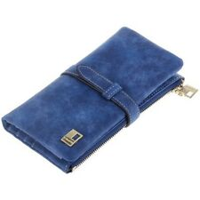 Women Blue Wallets Leather Zipper Wallet Women's Design Purse Two Fold Clutch