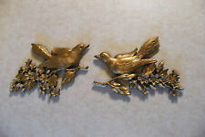 Set of 2 Vintage SYROCO  Birds with Dogwood Flowers Wall Plaques Hangings