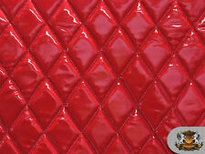 "Vinyl QUILTED FOAM GLOSSY RED Fabric w/ 3/8"" FOAM BACKING Upholstery"