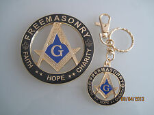 New Masonic Master Mason Cut out Car Auto Emblem & Keychain gold black