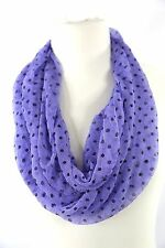 B130 Eternity Ruffle Wavy Sheer Black Purple Polka Dot Infinity Scarf