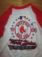 1986 Boston Red Sox WORLD SERIES with ROSTER (Y LG) T-Shirt JIM RICE WADE BOGGS