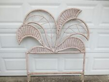 1 Wicker Funky Twin Size Headboards Leaf Peacock Tropical Cottage White Designer