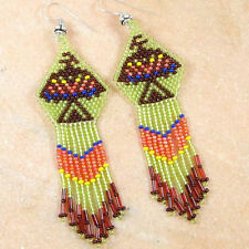 GREEN BROWN NATIVE AMERICAN INSPIRED SEED BEADED EAGLE EARRINGS E15/48