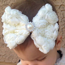 Baby Girl HairBand White Flower Bows Kid Toddlers Bowknot Hair Accessories Newly
