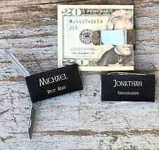 10 Each Personalized Engraved Money Clips Knife Groomsman Best Man Gifts Black