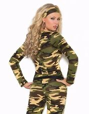 Sexy Soldier Costume Large Women Halloween Army Camouflage Military Romper Camo