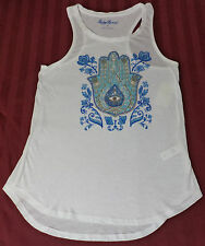 NWT Lucky Brand Loose Fit Sleeveless White Graphic Tank Top   Small    L291