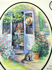 Garden Door Counted Cross Stitch Kit Flowers Cat Hat Country Dimensions 2003