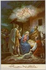 Natale Pastori in visita a Gesù Bambino Angeli Presepe Xmas PC Circa 1930 Italy