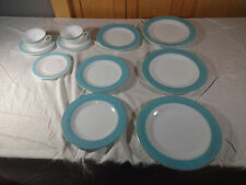 Lot of VINTAGE PYREX TURQUOISE AQUA BLUE BAND PLATES cups saucers dinnerware