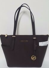 Michael Kors Chocolate Brown Jet Set East West Top Zip Saffiano Leather Tote NWT