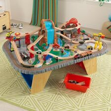 Kids Wooden Waterfall Junction Train Set & Table 112 Piece Storage Compatible