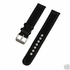 Speidel Express 18mm Black Leather/Nylon Water Resistant Band