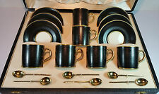 SUPERB ALLERTONS BLACK SHAGREEN 6 COFFEE SET WALKER & HALL SILVER SPOONS 1938