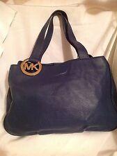 MICHAEL KORS Fulton East West Large Navy Blue Leather Tote Shoulder Handbag $298