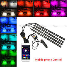 4x18 LED Car Atmosphere RGB Phone App Music Control Strip Lights Interior Kit #U