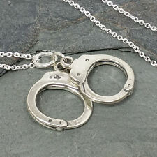 Handcuffs Necklace - 925 Sterling Silver - 3D Police Policeman Charm Jewelry NEW
