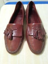 BRUNO MAGLI LEATHER SLIP ON TASSLE BROWN LOAFERS SIZE 10.5 W MADE IN ITALY