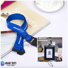 Leather ID Card Badge Holder with BOEING lanyard (blue +Vertical)