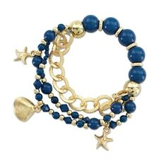 PERIWINKLE by BARLOW Gold Navy Bead Chain SEASHELL STARFISH Stretch Bracelet NWT