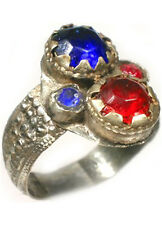 "18thC Crimean Tatars Silver Ring Ruby Red Sapphire Blue Glass ""Gemstones"" Sz 11½"