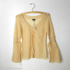 Beige cardigan S XS  lightweight lace knit mohair wool open front sweater top