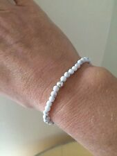 WHITE HOWLITE STRETCH BRACELET STERLING SILVER TINY BEAD HANDMADE BEADED JEWELRY