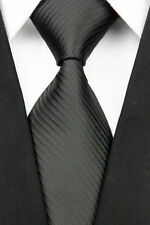 GIFTS FOR MEN Classic Mens Plain Fine Stripe Silk Work Necktie Formal Tie Black