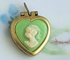 #603Q Vintage Heart Locket Pendant Cameo Green Lady NOS Brass Gold Tone OLD