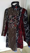 LADIES MULTI COLOURED DESIGUAL STYLE PATCHWORK COAT SIZE M OR 10 / 12