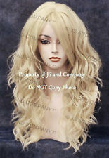 Pale Blonde Wig Flat iron OK Heat Resistant Hair Long Wavy Skin Top wd 613