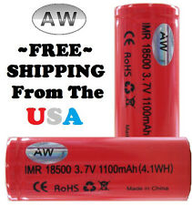 TWO x AW IMR 18500 3.7v 1100mAh High Drain Li-MN Battery (4.1WH) FLAT Top * New!