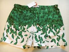 New ORLEBAR BROWN Bulldog Falling Feathers 38 Swim Trunks Beach Shorts NWT Green