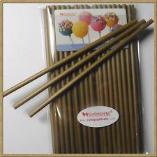 """50pcs 6"""" x 5/32"""" Plastic lollipop sticks for cake pops lollipop candy - Gold"""