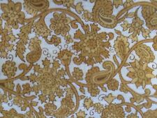 1 1/2 YARDS OF VINTAGE GOLD FLORAL & PAISLEY COTTON FABRIC