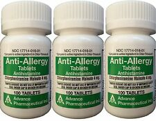 Chlorpheniramine 4 mg Allergy Generic for Chlor-Trimeton 100/Bottle  PACK of 3