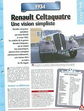 Renault Celtaquatre  1934  France  Car Auto FICHE FRANCE