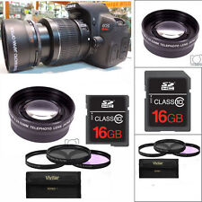 2X OPTICAL TELEPHOTO ZOOM LENS +3 HD FILTERS +16GB FOR CANON EOS REBEL DSLR