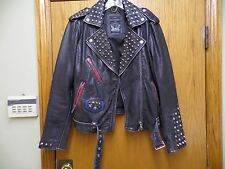 DIESEL women black leather heavily studded moto quality distressed jacket , sz M